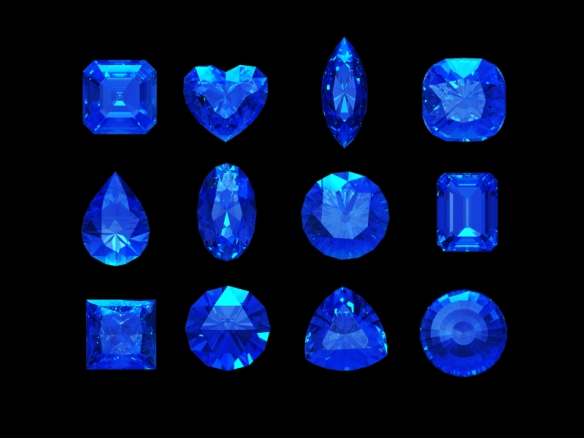 Group of  blue sapphire shape with clipping path