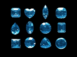 Group of blue topaz  with clipping path