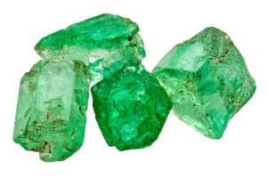 Four emerald crystals