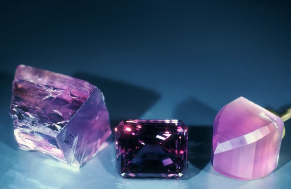 Kunzite group photo rough to cut